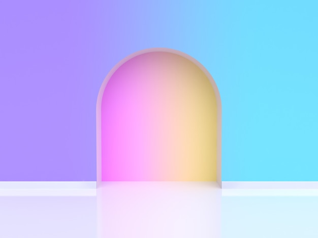 Abstrakte gewölbte tür steigung violett lila blau 3d-rendering Premium Fotos