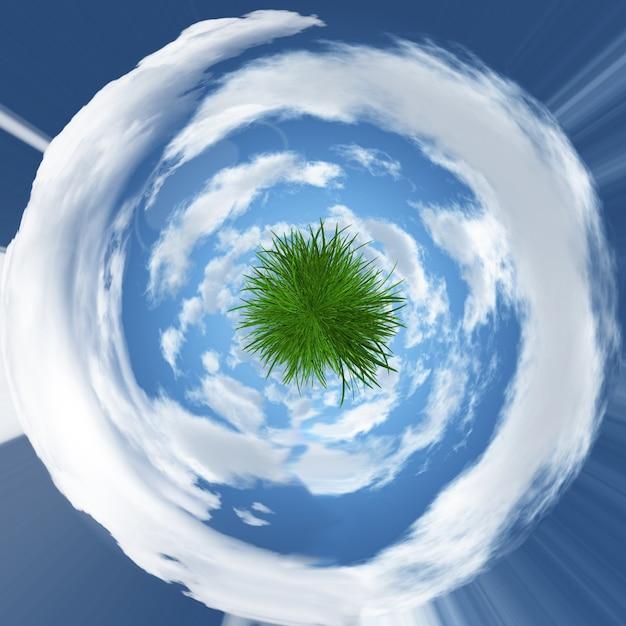 Abstrakte grasigen globus mit gewirbelten couds Kostenlose Fotos