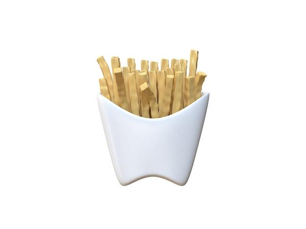 Abstrakte pommes-frites 3d in der weißen wiedergabe 3d der karikaturart des weißen kastens Premium Fotos