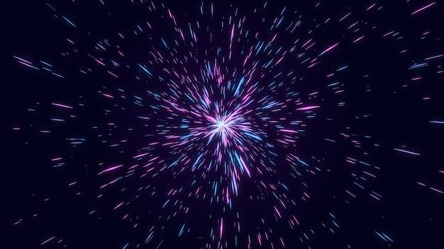 Abstrakte rosa und blaue geometrische rautenform-sternexplosion, fantastischer glühen-starburst-linienstrahl-tunnel, digitaler grafischer hintergrund der kreativen geometrie Premium Fotos