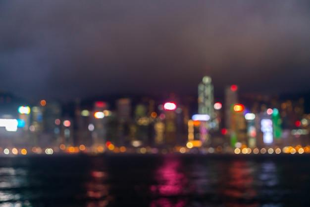 Abstrakte unschärfe und defokussiert hong kong city Premium Fotos