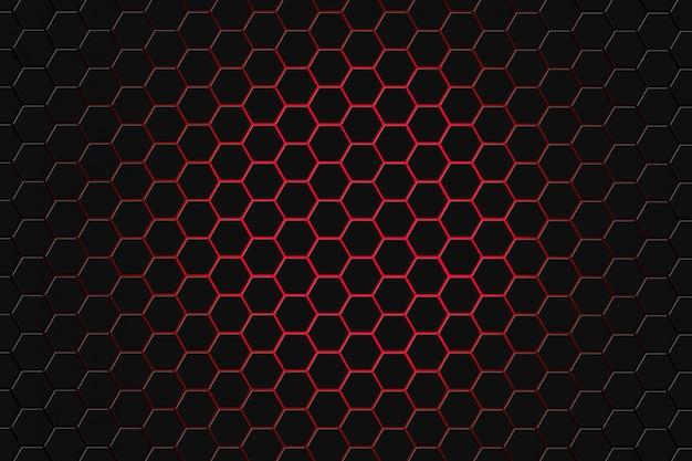 Abstrakte wiedergabe 3d der futuristischen oberfläche mit hexagonen. dunkelroter sciencefictionhintergrund. Premium Fotos