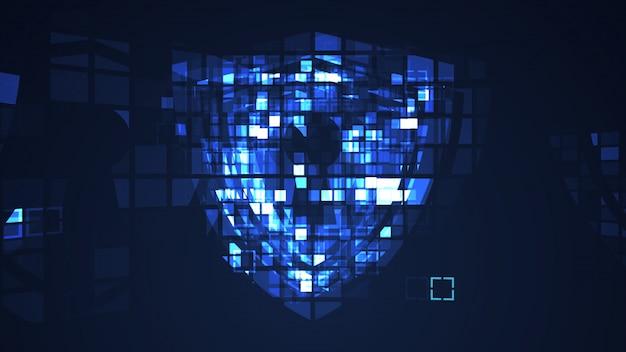 Abstrakter blauer cyber-digitaltechnik-grafikhintergrund Premium Fotos