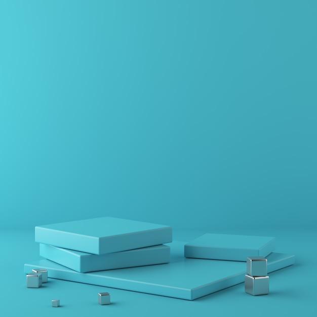 Abstrakter blauer hintergrund mit geometrischem formpodium und metallwürfel. 3d-rendering Premium Fotos