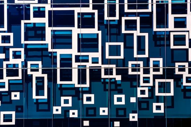 Abstrakter blauer spiegel, linie und geometrisch in der stadt. Premium Fotos