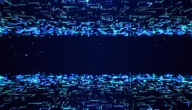 Abstrakter digitaler futuristischer matrixpartikelflusshintergrund, fliegend durch blau leuchtendes neon-big-data-line-cyberspace-technologiekonzept Premium Fotos