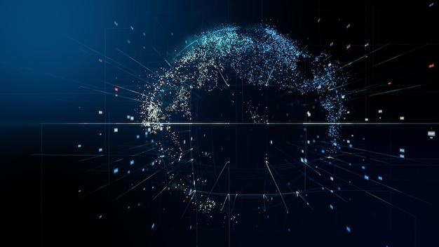 Abstrakter digitaler globus. 3d-rendering eines datennetzwerks für wissenschaftliche technologien. Premium Fotos