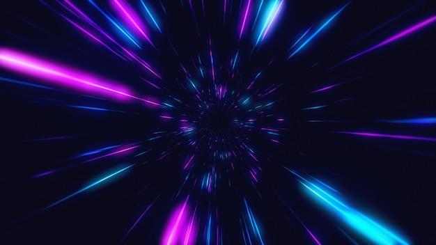 Abstrakter flug im retro-neon-hyper-warp-raum in der tunnel-3d-illustration Premium Fotos
