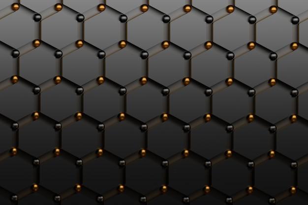 Abstrakter futuristischer hintergrund mit schwarzen hexagonen und glänzenden goldenen und schwarzen kugeln. Premium Fotos