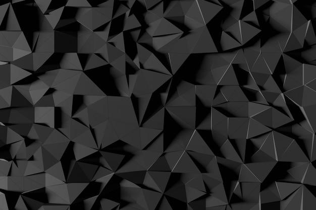 Abstrakter futuristischer niedriger polyhintergrund von den schwarzen dreiecken. minimalistisches schwarz-3d-rendering. Premium Fotos