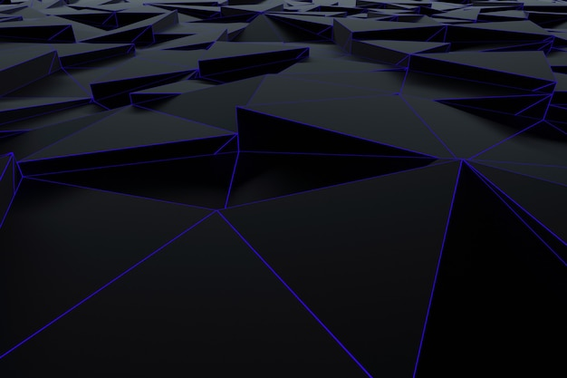 Abstrakter futuristischer niedriger polyhintergrund von den schwarzen dreiecken mit einem leuchtend blauen gitter. minimalistisches schwarz-3d-rendering. Premium Fotos