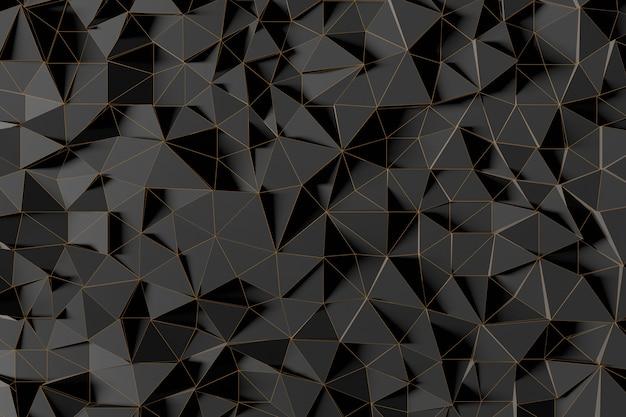 Abstrakter futuristischer niedriger polyhintergrund von schwarzen dreiecken mit einem leuchtenden goldgitter. minimalistisches schwarz-3d-rendering. Premium Fotos