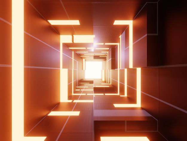 Abstrakter futuristischer technologiehintergrund 3d mit orangefarbenem licht. Premium Fotos