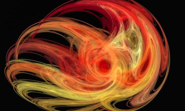 Abstrakter gelber und roter flammenartiger fractal auf dem schwarzen Premium Fotos