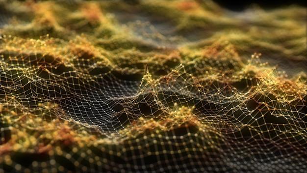 Abstrakter glühender virtueller futuristischer goldener hintergrund des neuronalen netzes. Premium Fotos