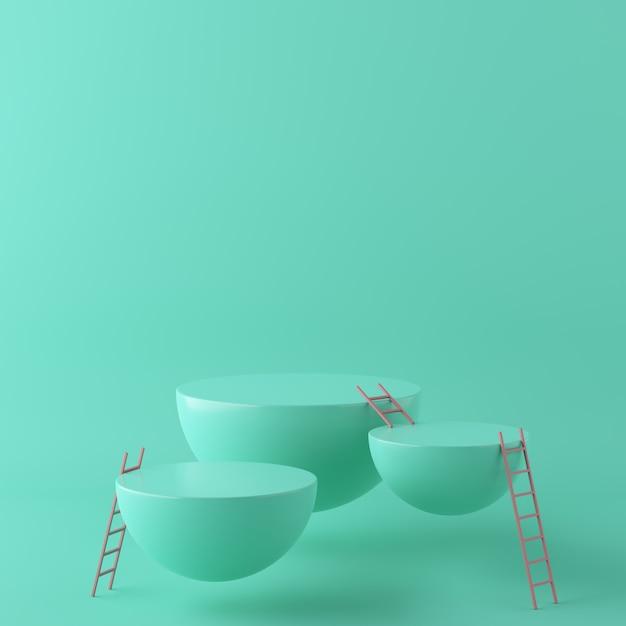 Abstrakter grüner hintergrund mit geometrischem formpodium und -treppe. 3d-rendering Premium Fotos