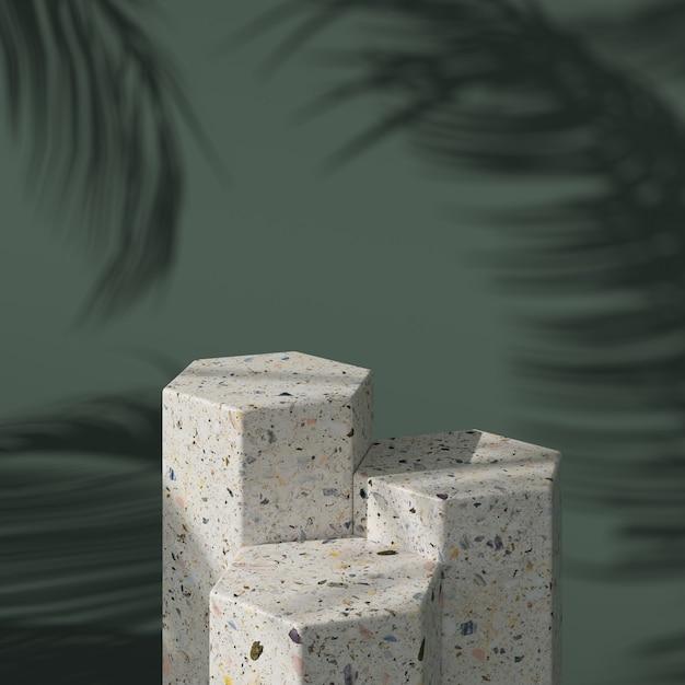 Abstrakter grüner hintergrund mit geometrischem hexagonform-terrazzopodium für produkt. minimales konzept. 3d-rendering Premium Fotos