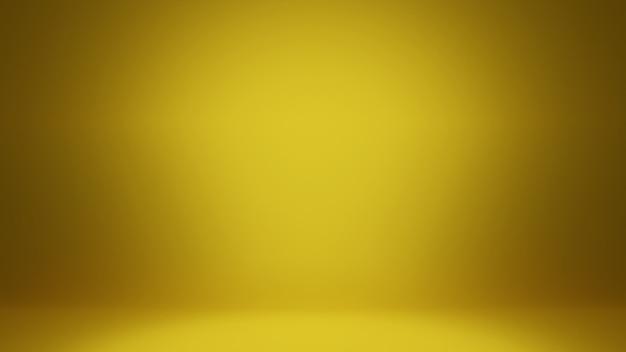 Abstrakter hintergrund des 3d-renderings. glattes gelbgold mit schwarzer vignette Premium Fotos