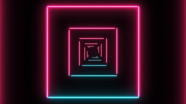Abstrakter hintergrund mit neonquadraten mit hellen linien Premium Fotos