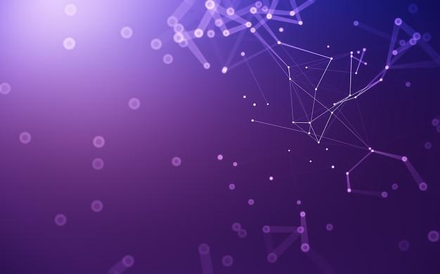 Abstrakter hintergrund. molekültechnologie mit polygonalen formen, die punkte und linien verbinden. verbindungsstruktur. big data-visualisierung. Premium Fotos