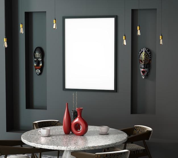 Abstrakter innenraum des ethno 3d des cafés mit einem runden tisch. Premium Fotos