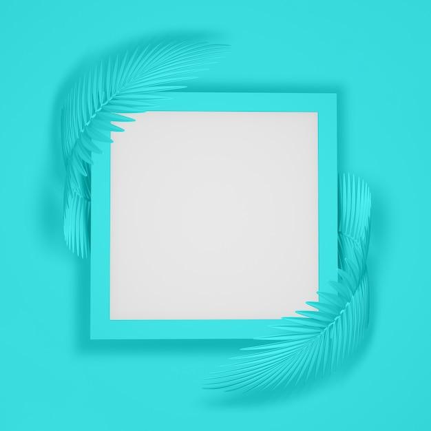Abstrakter moderner hintergrund eines quadratischen rahmens umgeben durch zwei gerundete flaumige palmblätter. abbildung 3d.3d übertragen Premium Fotos