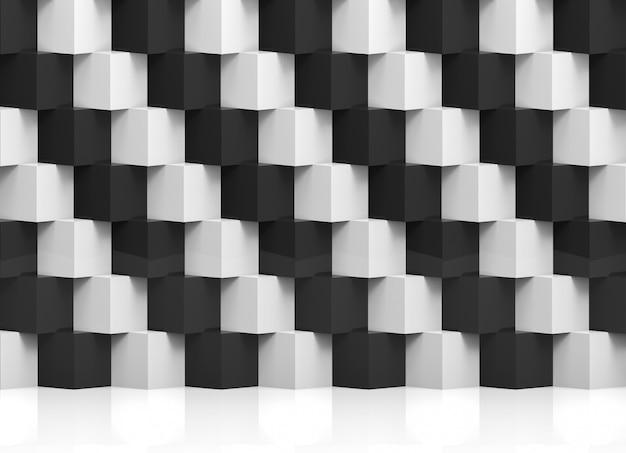 Abstrakter moderner stapel der gelegentlichen weißen und schwarzen würfelkastenluxuswand Premium Fotos