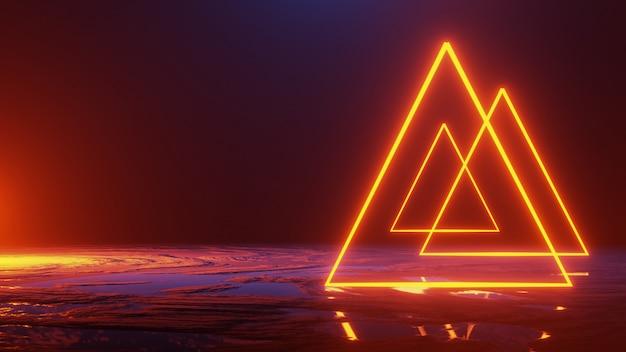 Abstrakter raum, neonlichtdreieck, 3d übertragen, universum-konzept, 3d übertragen Premium Fotos