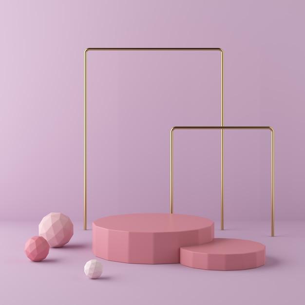 Abstrakter rosa hintergrund mit geometrischem formpodium. 3d-rendering Premium Fotos