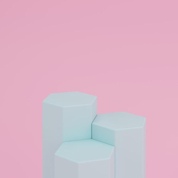 Abstrakter rosa hintergrund mit podium der grünen farbe der geometrischen hexagonform für produkt. minimales konzept. 3d-rendering Premium Fotos