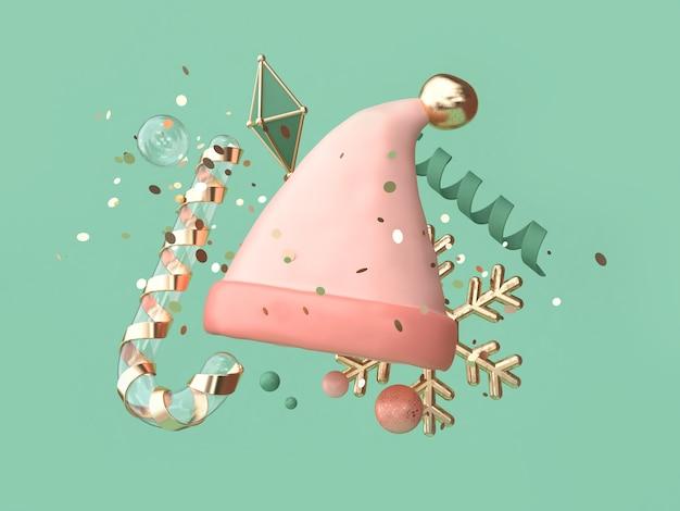 Abstrakter rosa hut viele schwimmendes weihnachten der gegenstanddekoration Premium Fotos