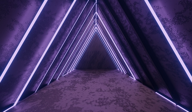 Abstrakter science-fiction-tunnel mit lila licht. Premium Fotos