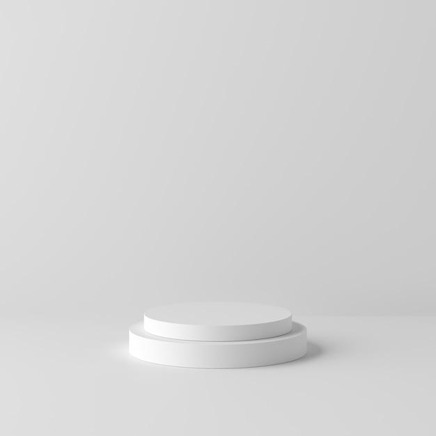 Abstrakter weißer hintergrund mit geometrischem formpodium für produkt. minimales konzept. 3d-rendering Premium Fotos