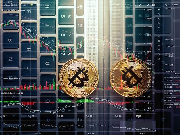 Abstraktes bitcoin auf laptoptastatur bitcoin handelshintergrund Premium Fotos