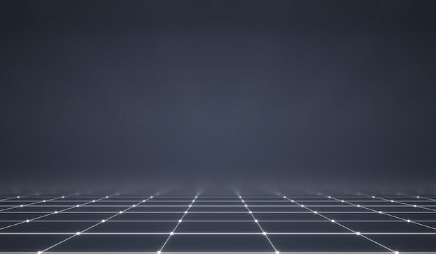 Abstraktes futuristisches netz mit leuchtendem neonlicht und gitterlinienmuster auf dunklem hintergrund. Premium Fotos
