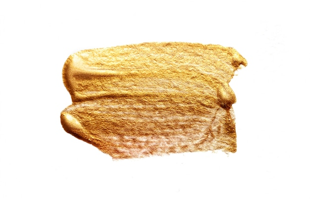 Abstraktes goldenes abstrichbürstenacryl in der schmutzart auf weiß Premium Fotos