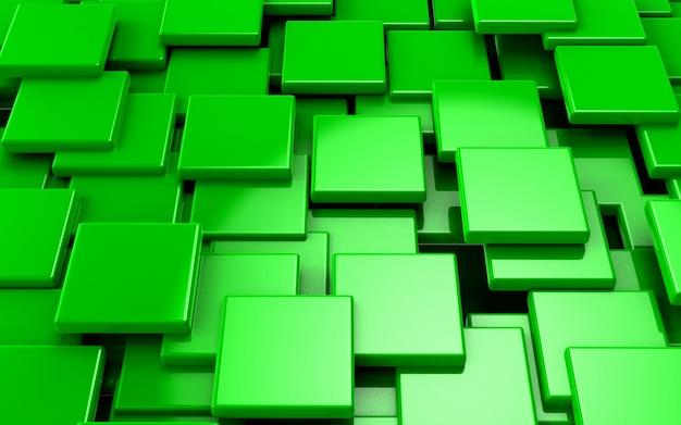 Abstraktes grünes würfel-konzept der illustration 3d übertragen Premium Fotos