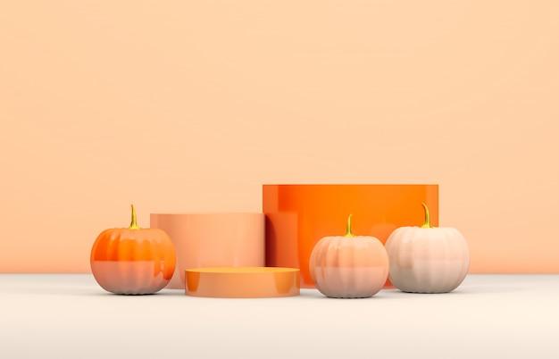 Abstraktes podium 3d halloween mit orange zylinderkasten und kürbisen für produktanzeige. Premium Fotos