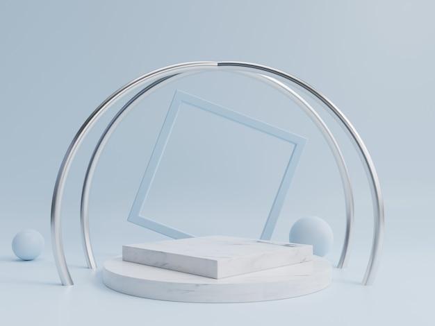 Abstraktes podium zum platzieren von produkten und zum platzieren von preisen mit blauem hintergrund. Premium Fotos