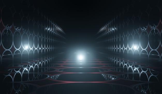 Abstraktes science-fiction-zimmer 3d mit blauem lichthintergrund. 3d-illustration. Premium Fotos