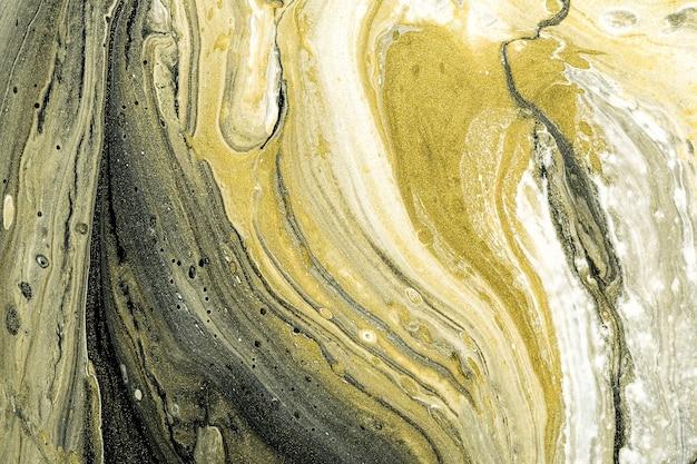 Acrylflüssigkeit art.-nr. abstrakter steinhintergrund oder -beschaffenheit. flüssige marmorstrukturen in schwarz, weiß und gold Premium Fotos