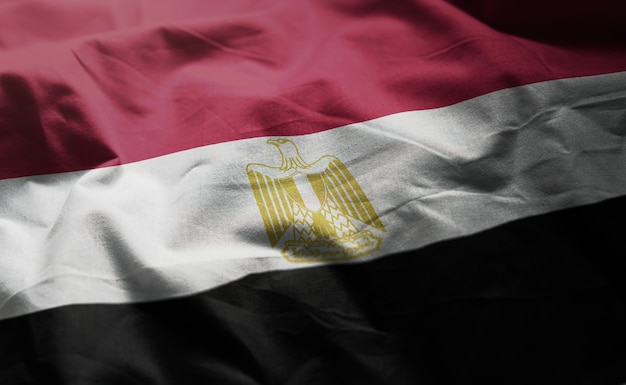 Ägypten-flagge zerknittert nah oben Premium Fotos