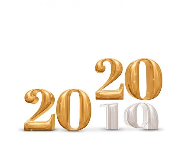 Änderung 2019 bis 2020 goldene zahl des neuen jahres auf weißem studioraumhintergrund Premium Fotos