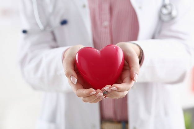 Ärztingriff in den armen und rote spielzeugherznahaufnahme der abdeckung. kardiotherapeut studentenausbildung cpr 911 lebensrettender arzt machen herzphysikalische pulsfrequenz messen arrhythmie lebensstil Premium Fotos