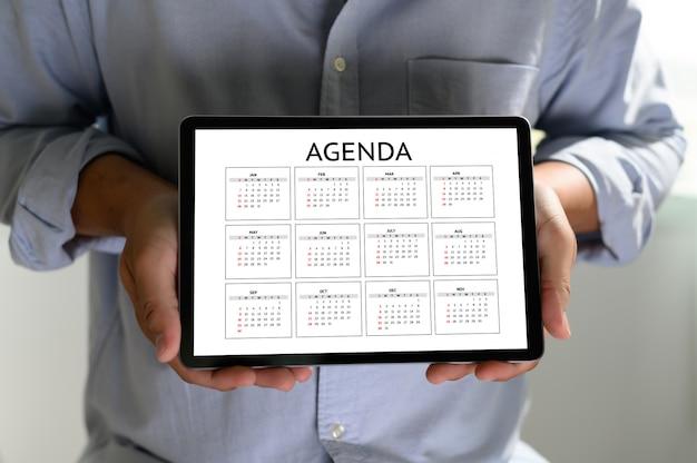 Agenda aktivitätsinformationen kalenderereignisse und besprechungstermin Premium Fotos