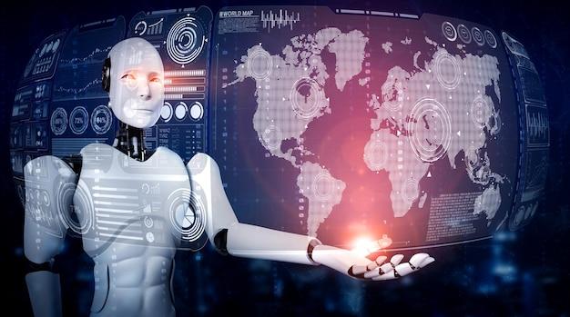 Ai humanoider roboter, der hologrammbildschirm hält, zeigt konzept der globalen kommunikation Premium Fotos