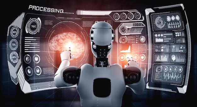 Ai humanoider roboter, der virtuellen hologrammbildschirm berührt, der konzept von big data zeigt Premium Fotos