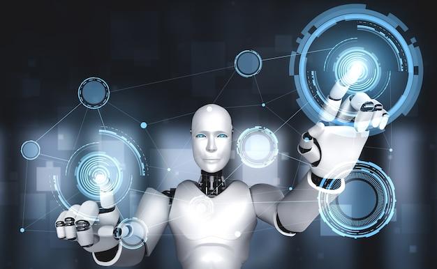 Ai humanoider roboter, der virtuellen hologrammbildschirm berührt Premium Fotos