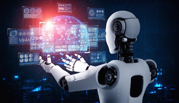 Ai humanoider roboter, der virtuellen hologrammbildschirm hält, der konzept der big-data-analyse zeigt Premium Fotos