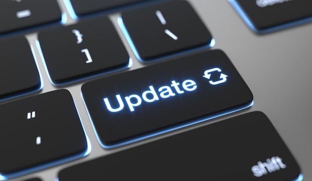 Aktualisieren sie den auf der tastaturtaste geschriebenen text. Premium Fotos